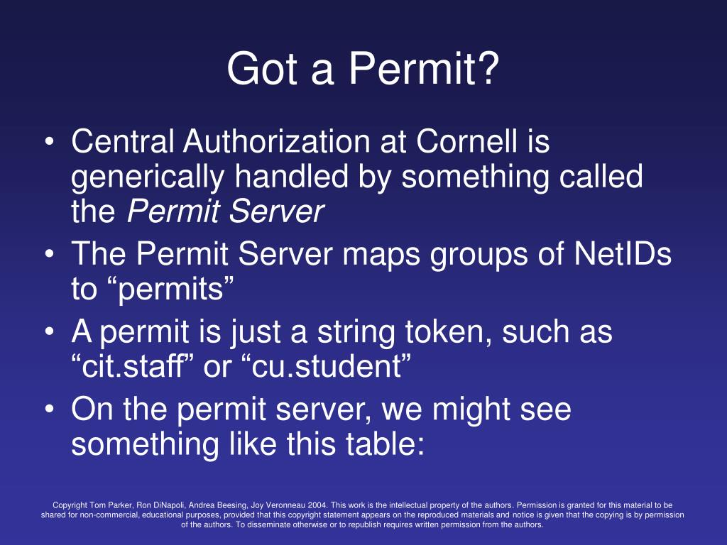 Got a Permit?