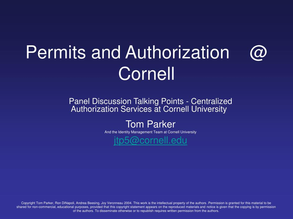 Permits and Authorization    @ Cornell