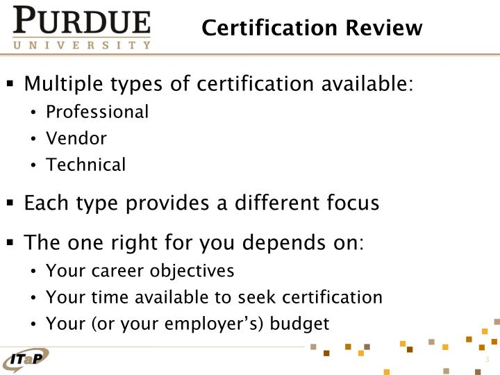 Certification review