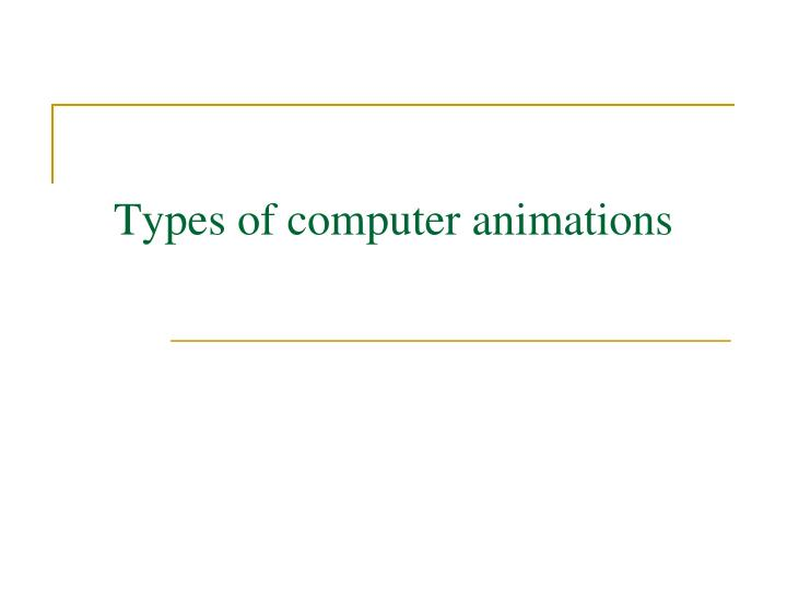 Types of computer animations