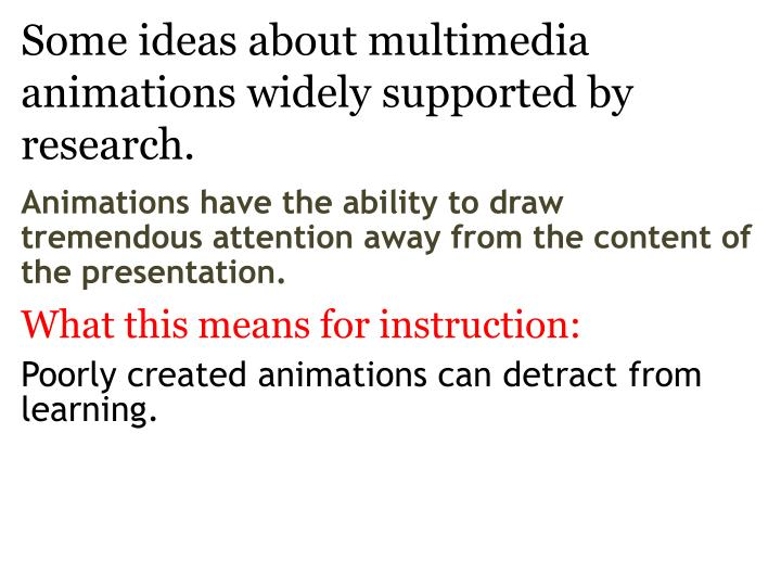 Some ideas about multimedia animations widely supported by research3