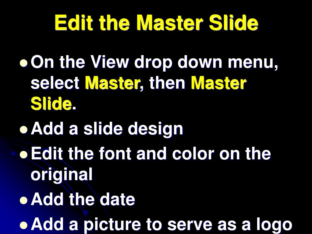 Edit the Master Slide