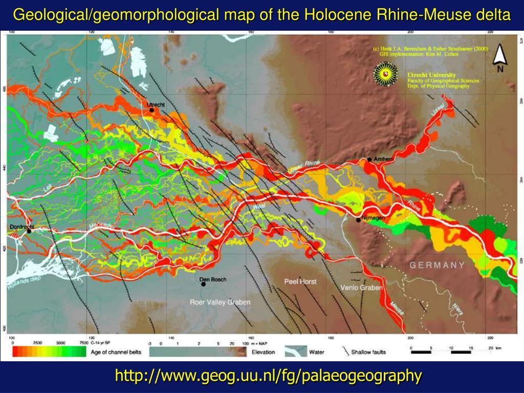 geological geomorphological map of the holocene rhine meuse delta