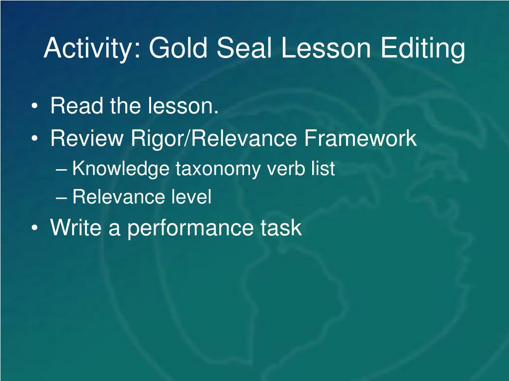 Activity: Gold Seal Lesson Editing