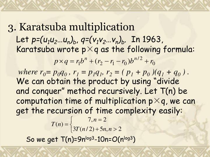 3. Karatsuba multiplication