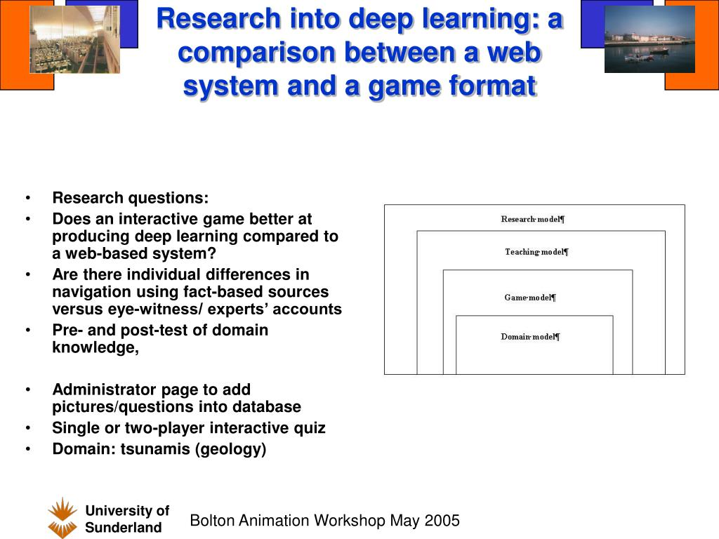 Research into deep learning: a comparison between a web system and a game format