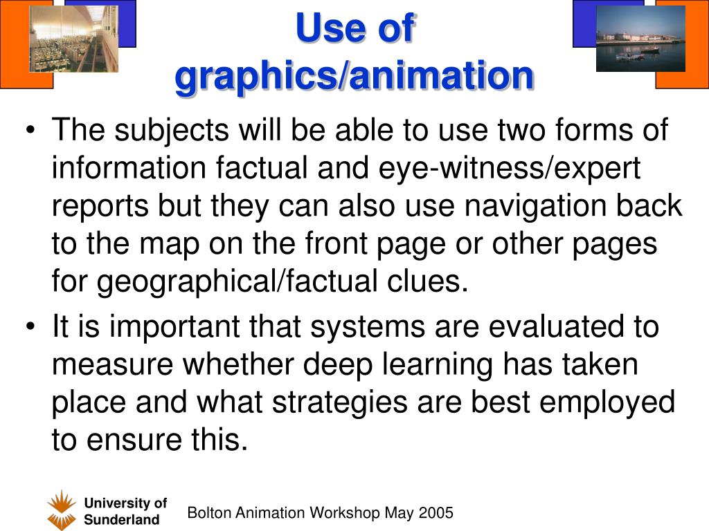Use of graphics/animation