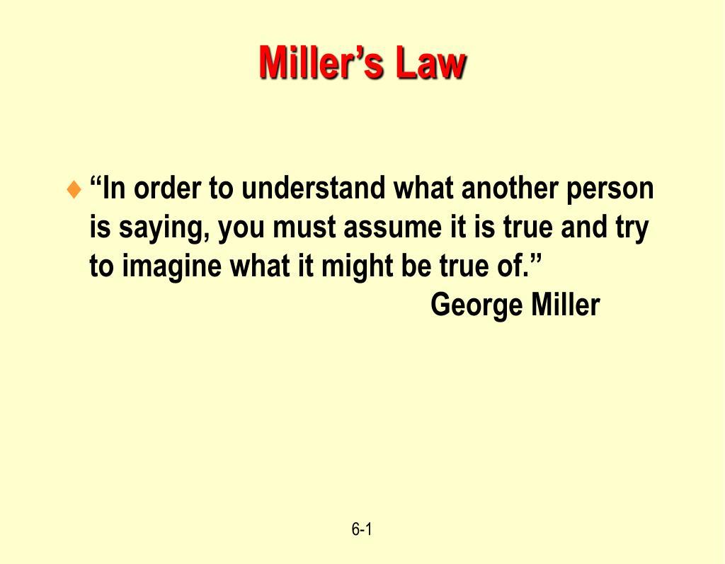 Miller's Law