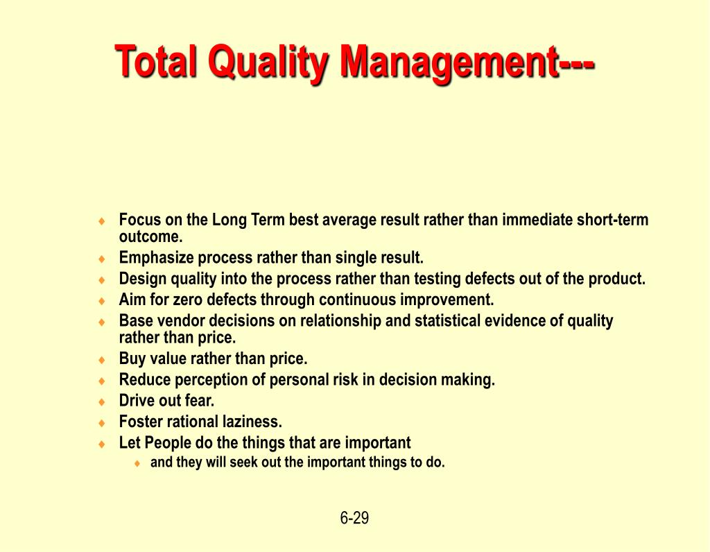 Total Quality Management---