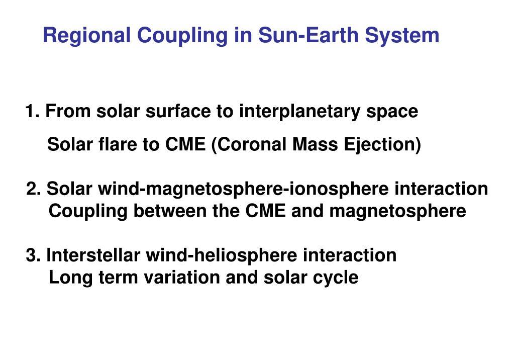 Regional Coupling in Sun-Earth System