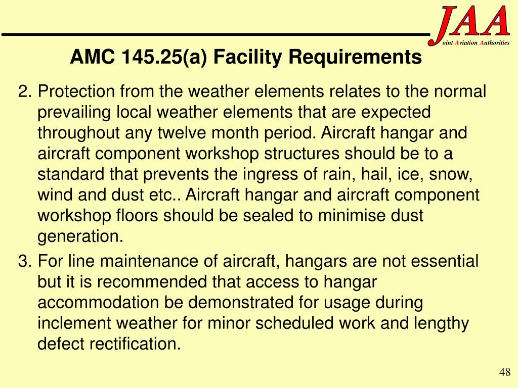AMC 145.25(a) Facility Requirements