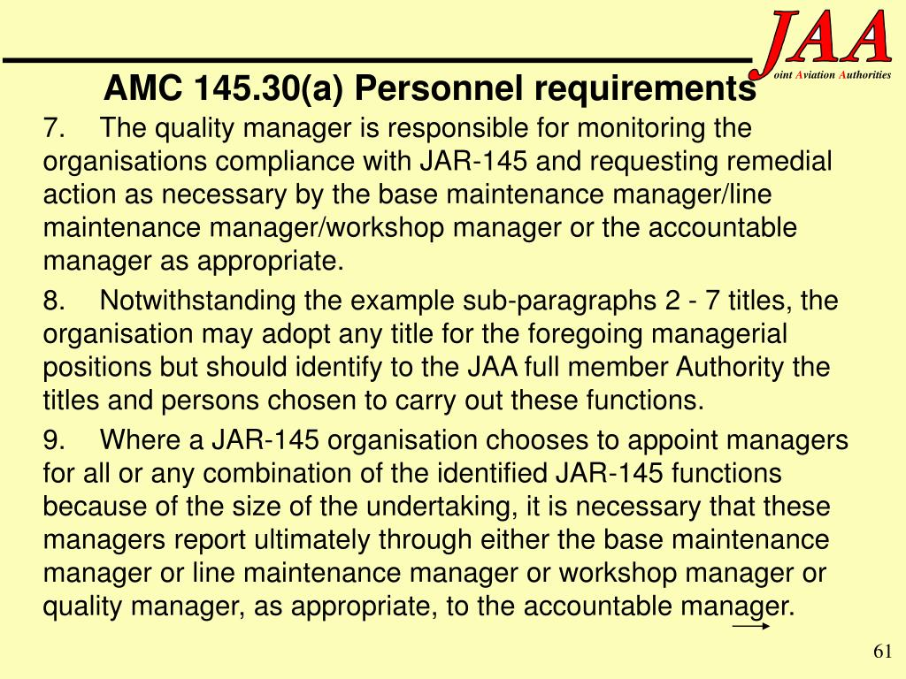 AMC 145.30(a) Personnel requirements