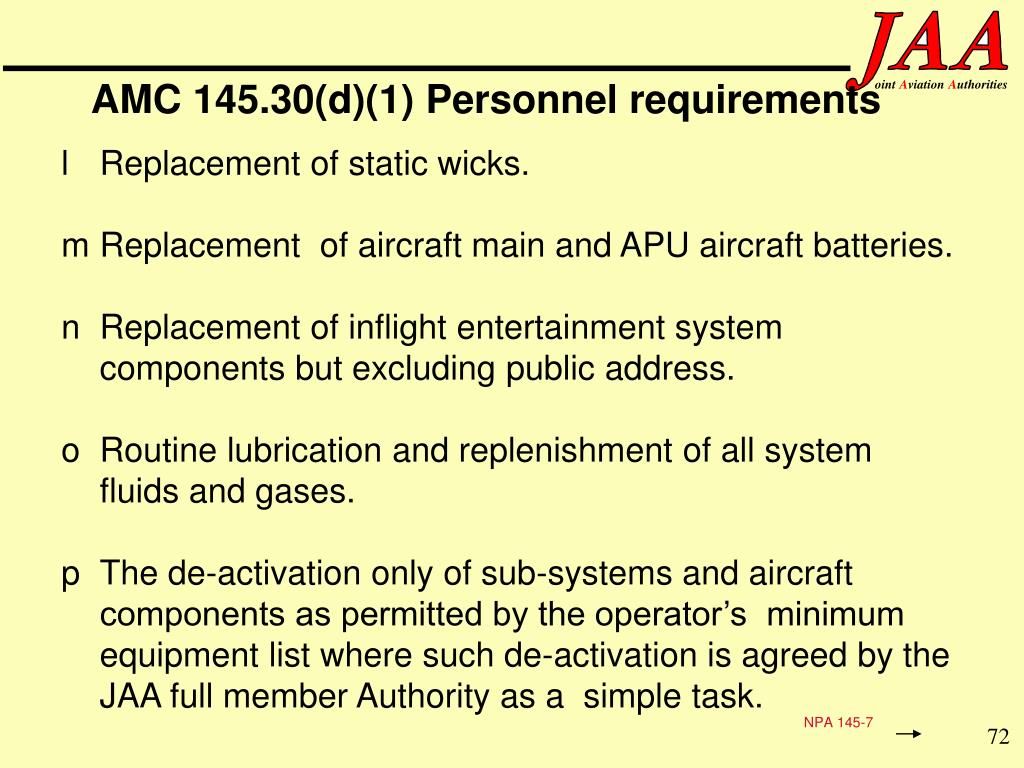AMC 145.30(d)(1) Personnel requirements