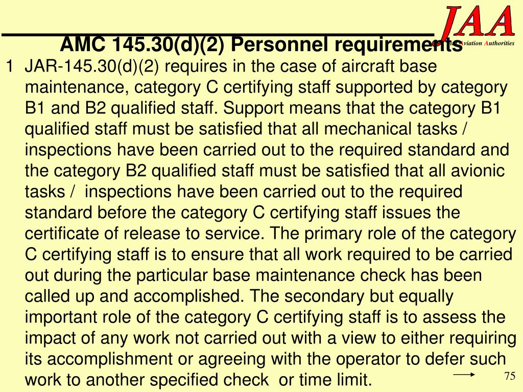 AMC 145.30(d)(2) Personnel requirements