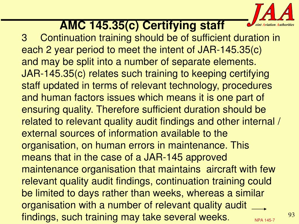 AMC 145.35(c) Certifying staff