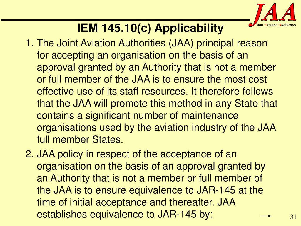 IEM 145.10(c) Applicability