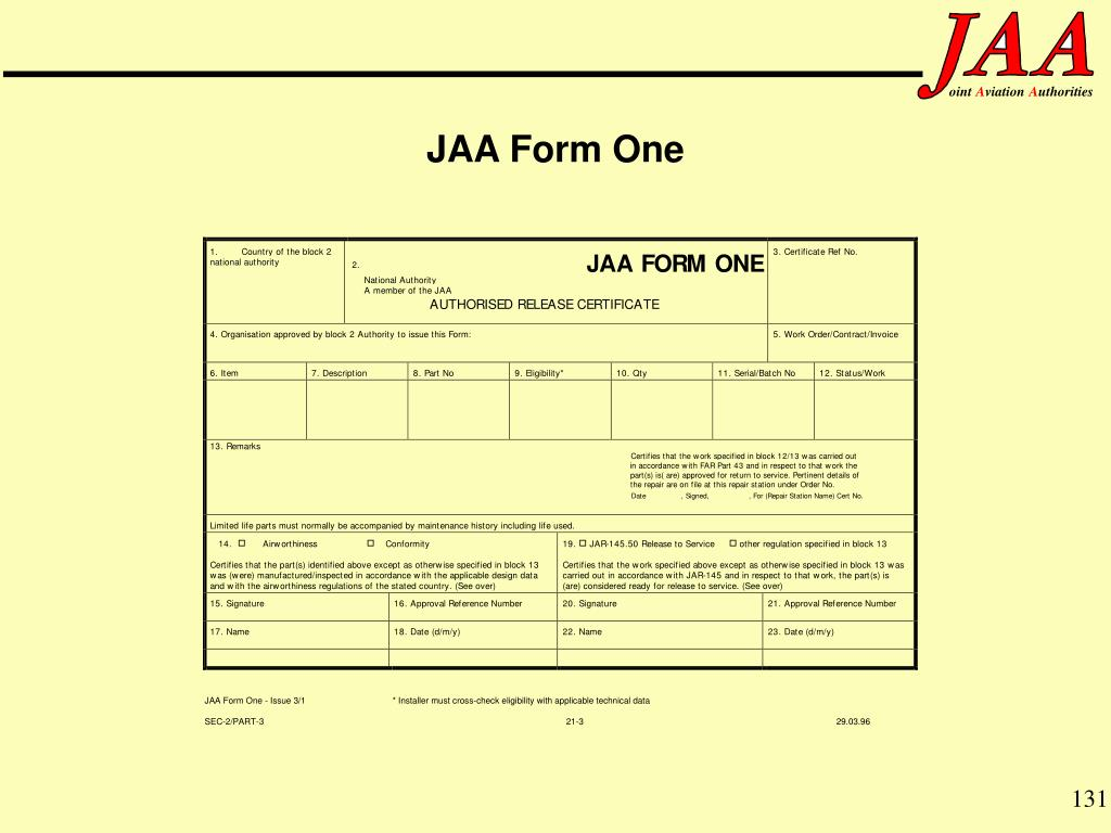 JAA Form One