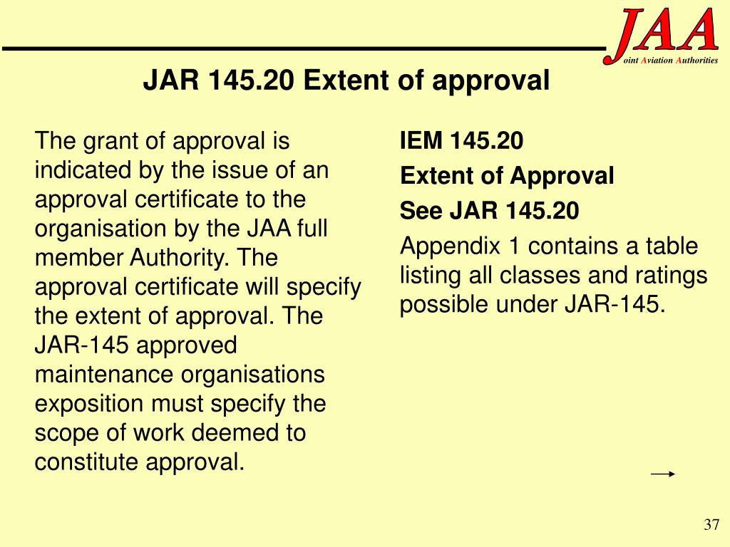 JAR 145.20 Extent of approval
