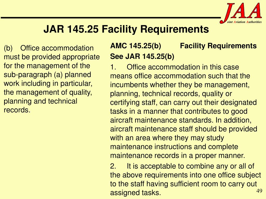 JAR 145.25 Facility Requirements