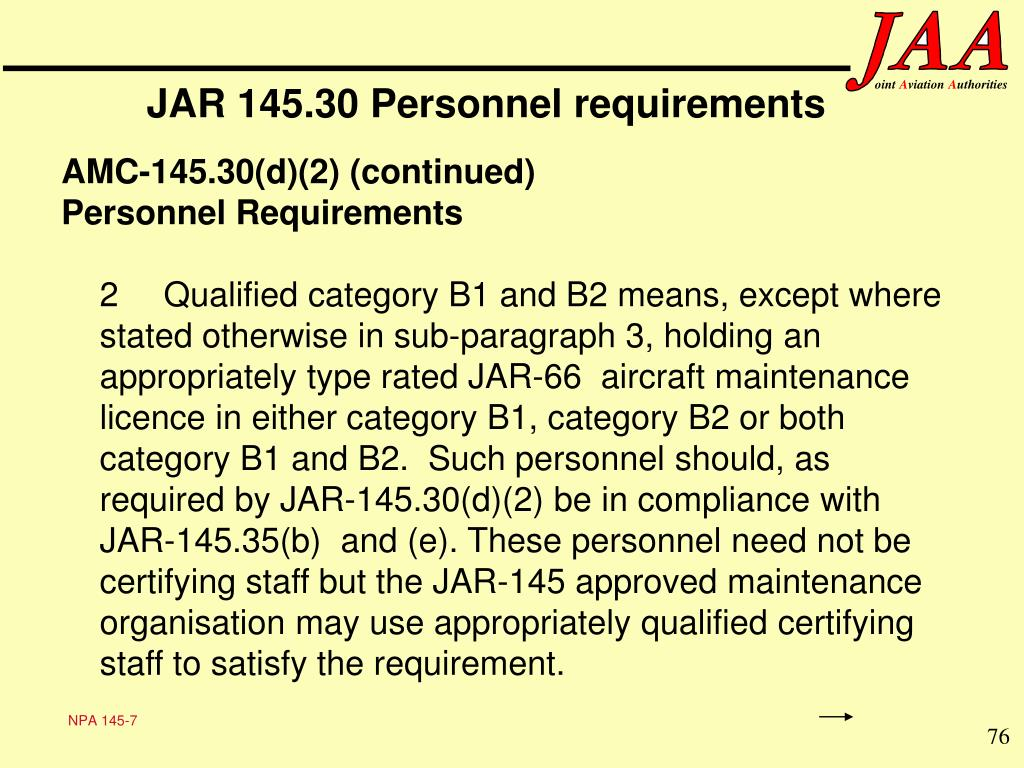 JAR 145.30 Personnel requirements