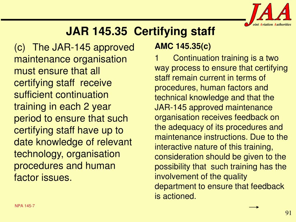 JAR 145.35  Certifying staff
