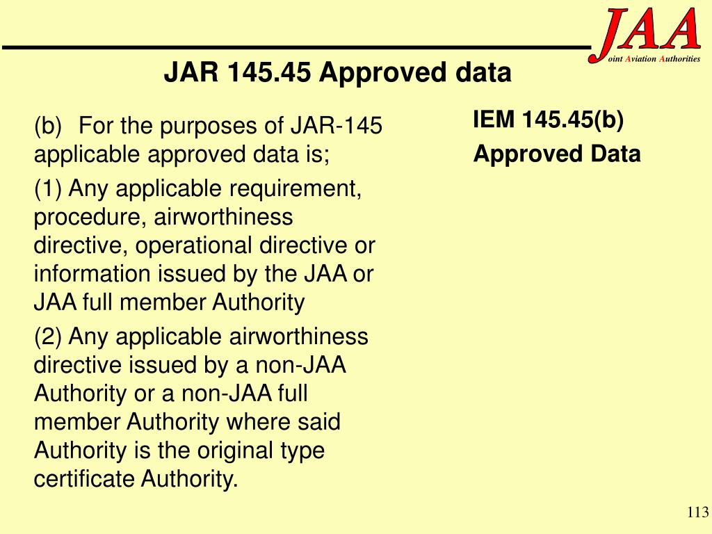 JAR 145.45 Approved data