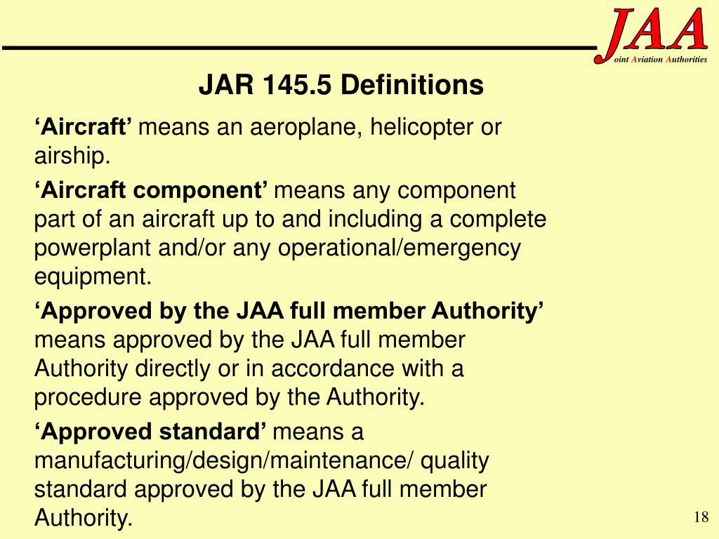 JAR 145.5 Definitions