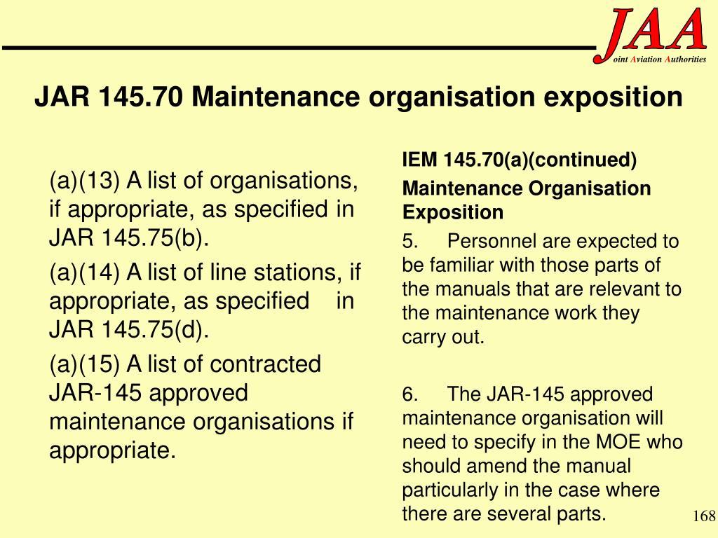 IEM 145.70(a)(continued)