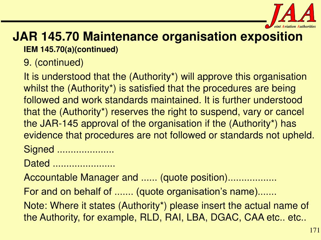 JAR 145.70 Maintenance organisation exposition