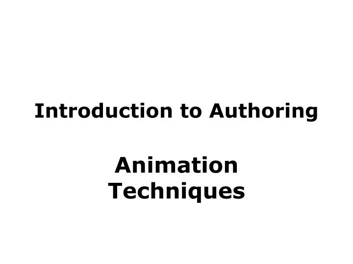 Introduction to authoring