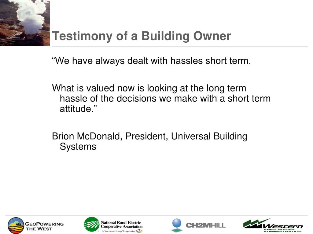 Testimony of a Building Owner