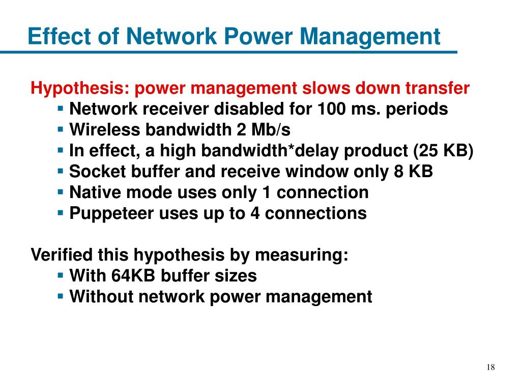 Effect of Network Power Management