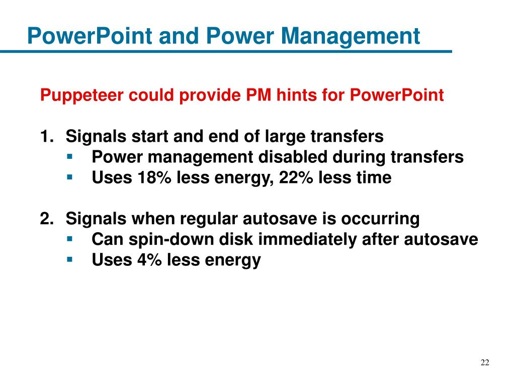 PowerPoint and Power Management