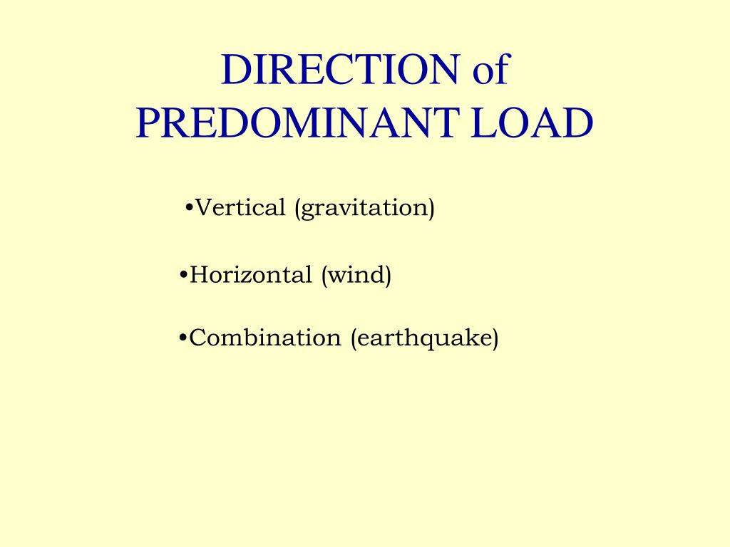 DIRECTION of PREDOMINANT LOAD