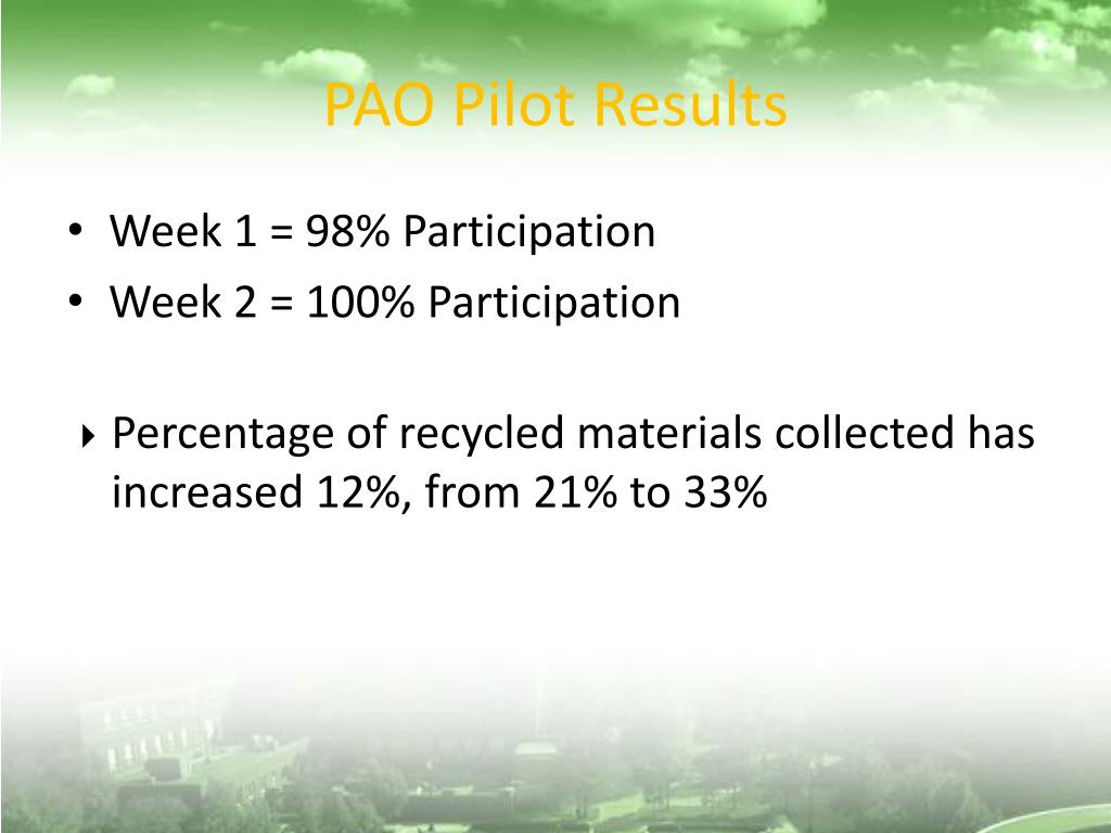 PAO Pilot Results