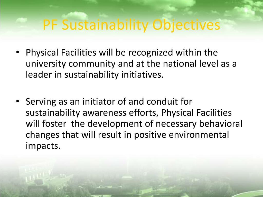 PF Sustainability Objectives