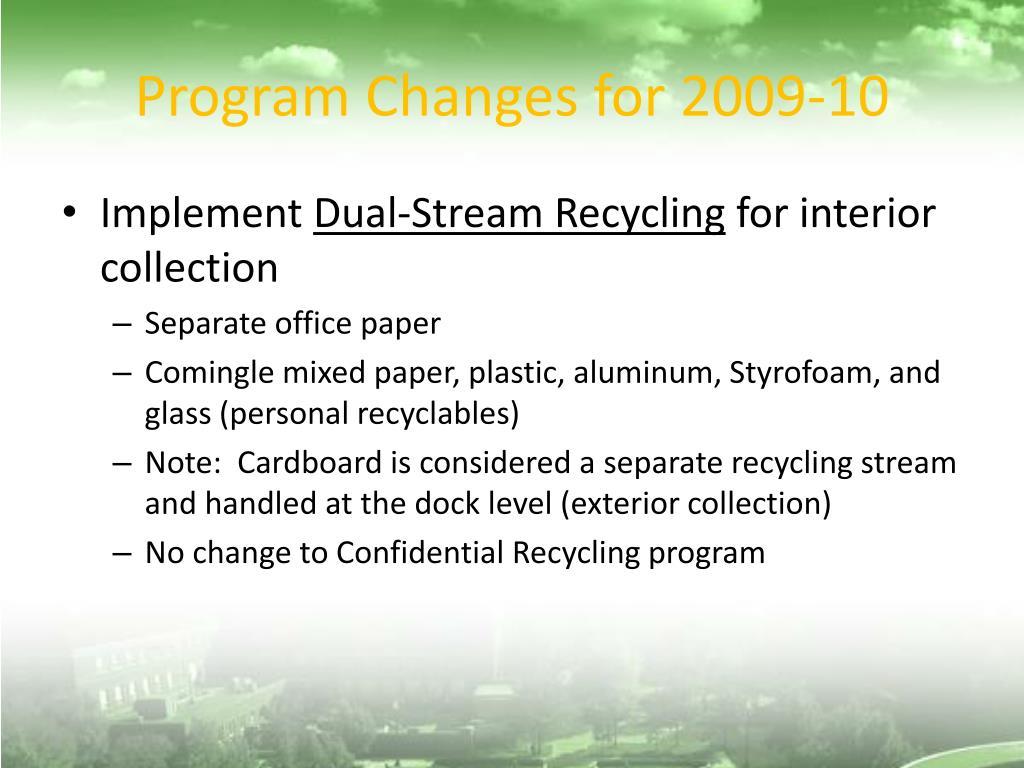 Program Changes for 2009-10