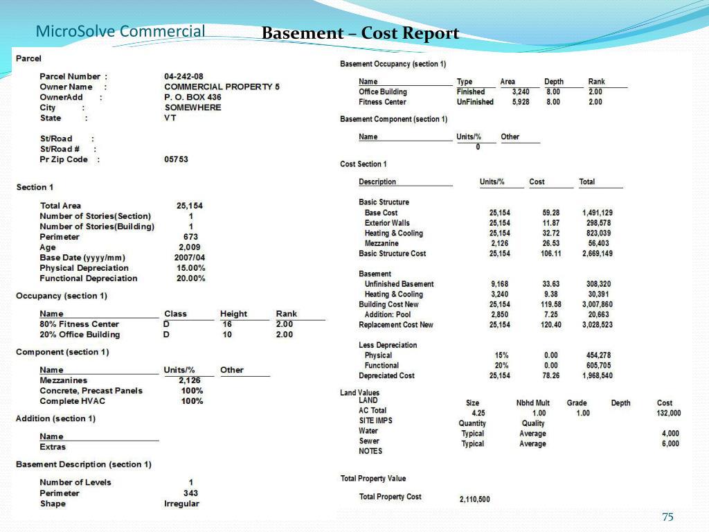 Basement – Cost Report