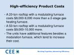 high efficiency product costs