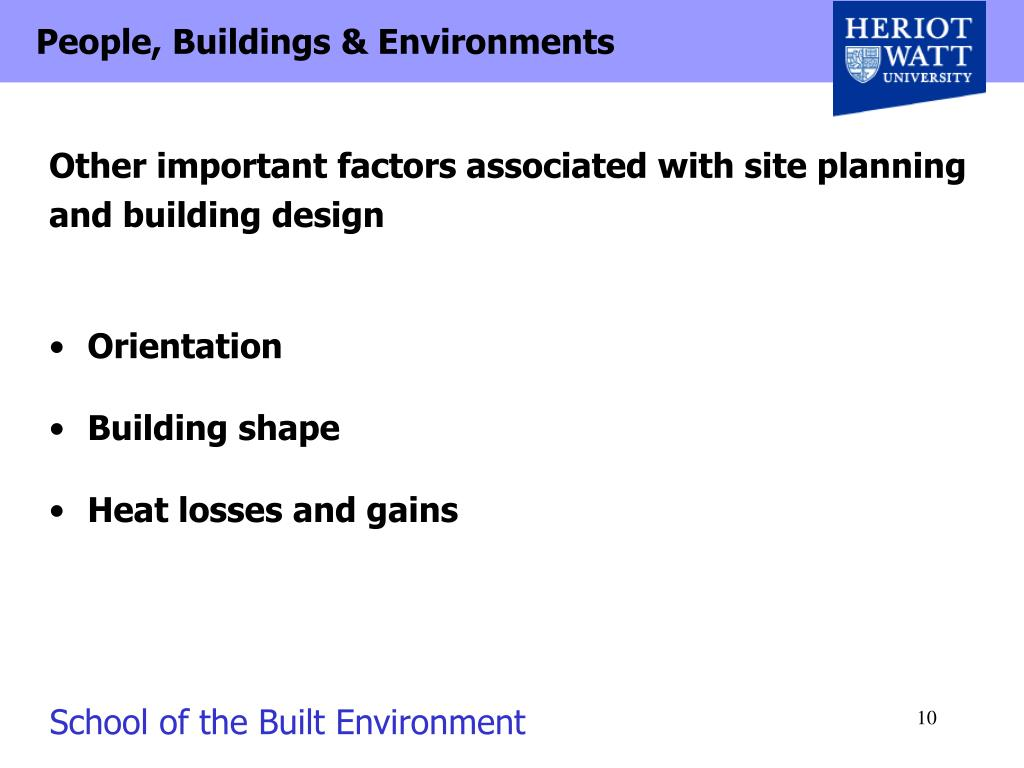 Other important factors associated with site planning