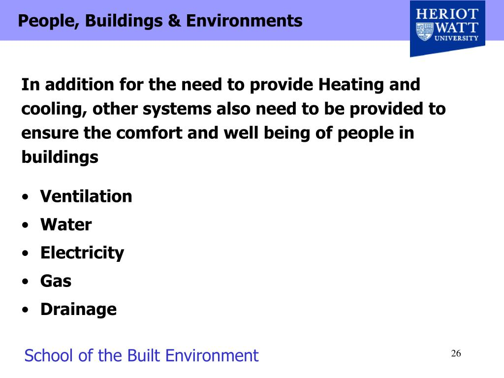 In addition for the need to provide Heating and