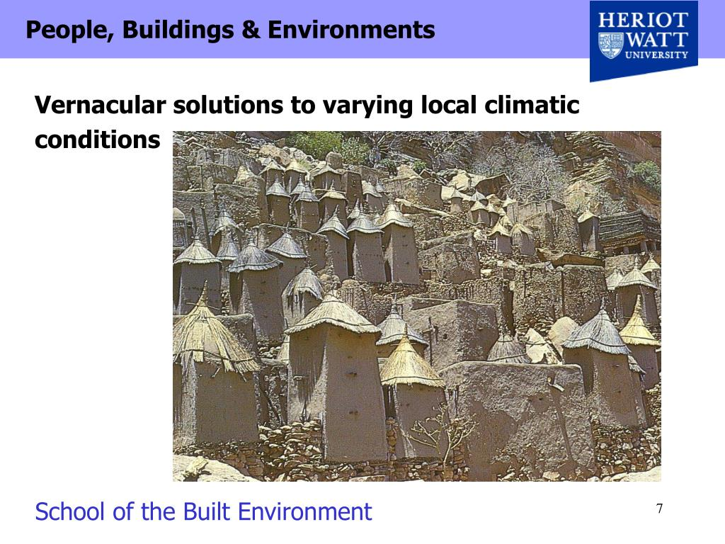 Vernacular solutions to varying local climatic