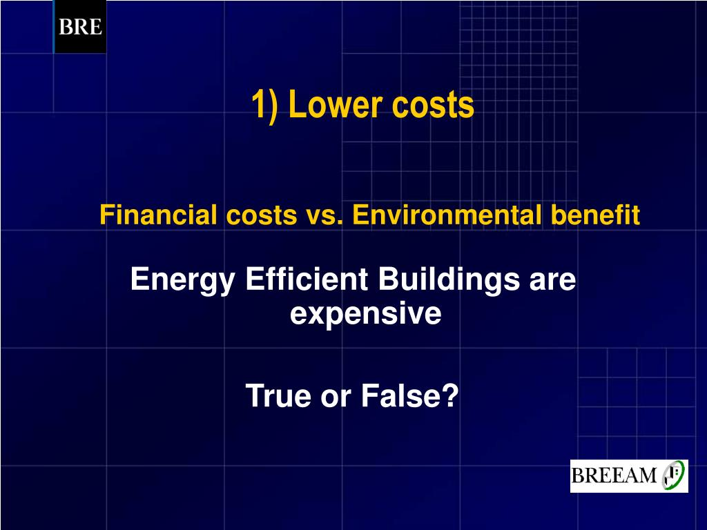 Financial costs vs. Environmental benefit