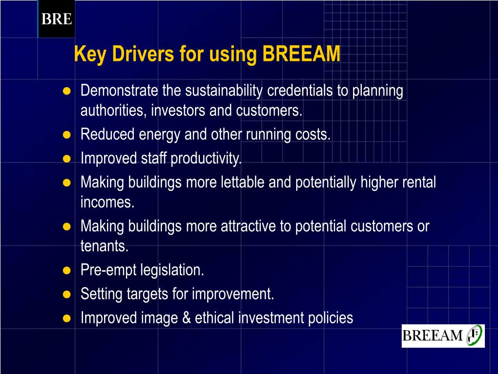 Key Drivers for using BREEAM