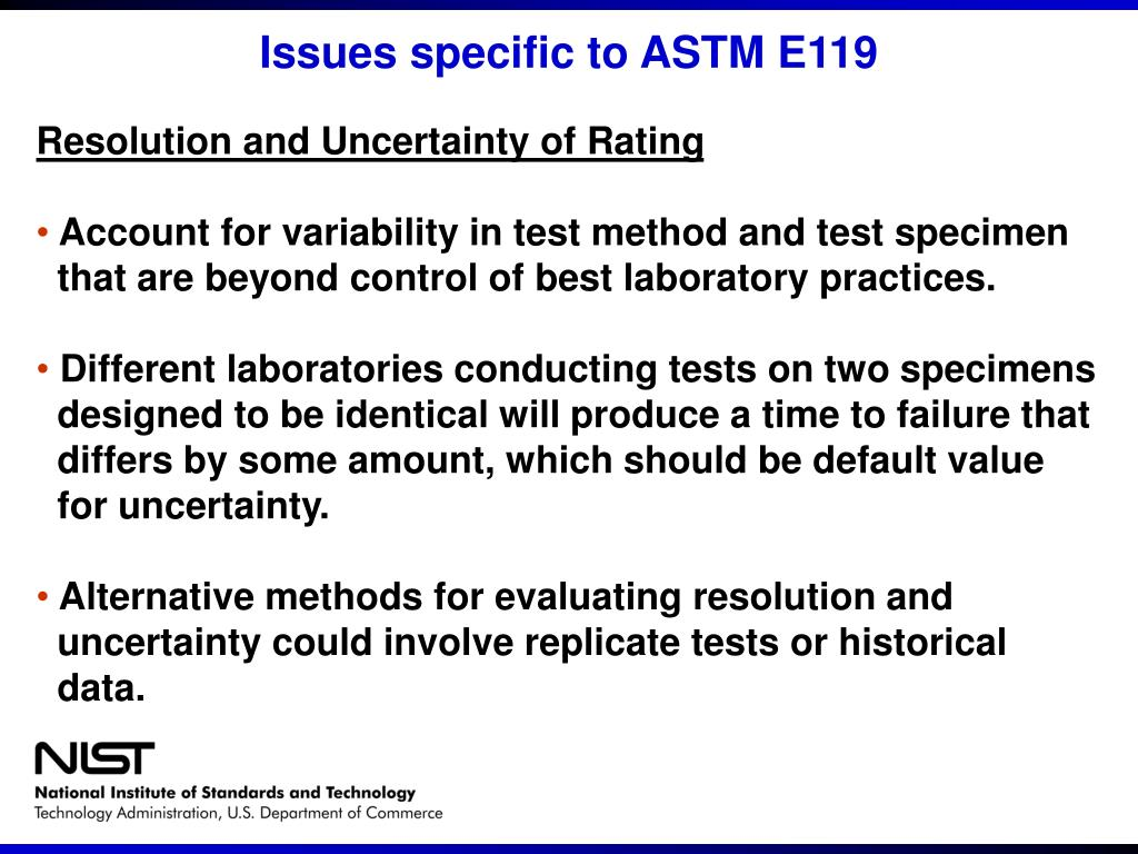 Issues specific to ASTM E119