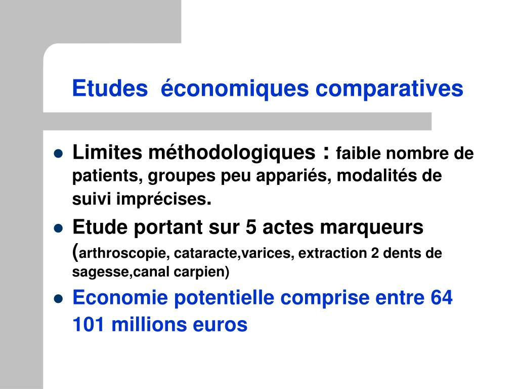 Etudes  économiques comparatives