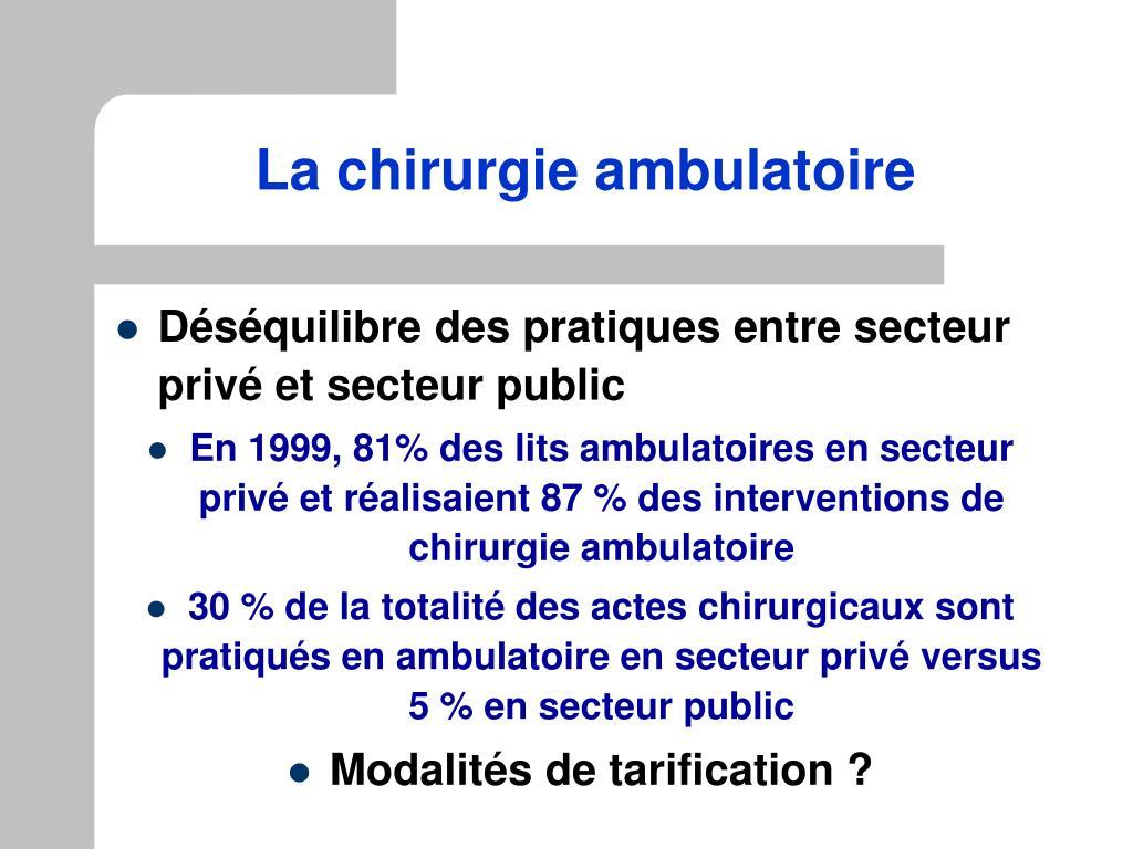 La chirurgie ambulatoire