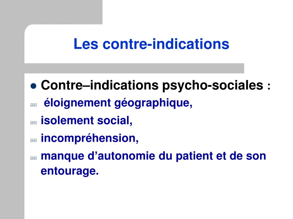 Les contre-indications