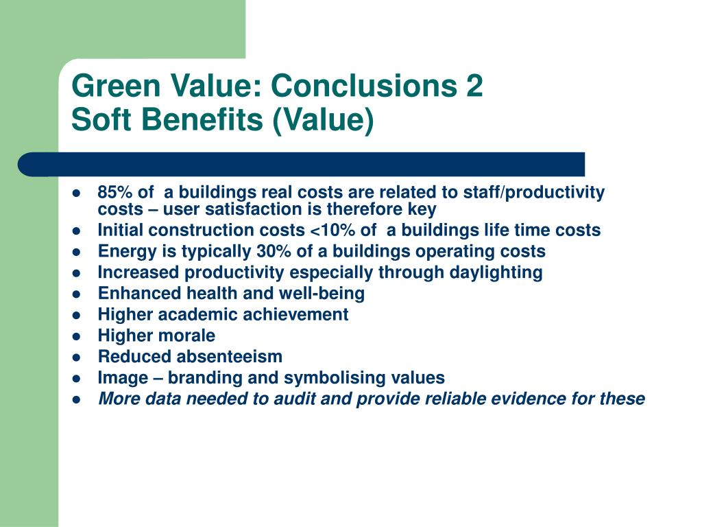 Green Value: Conclusions 2