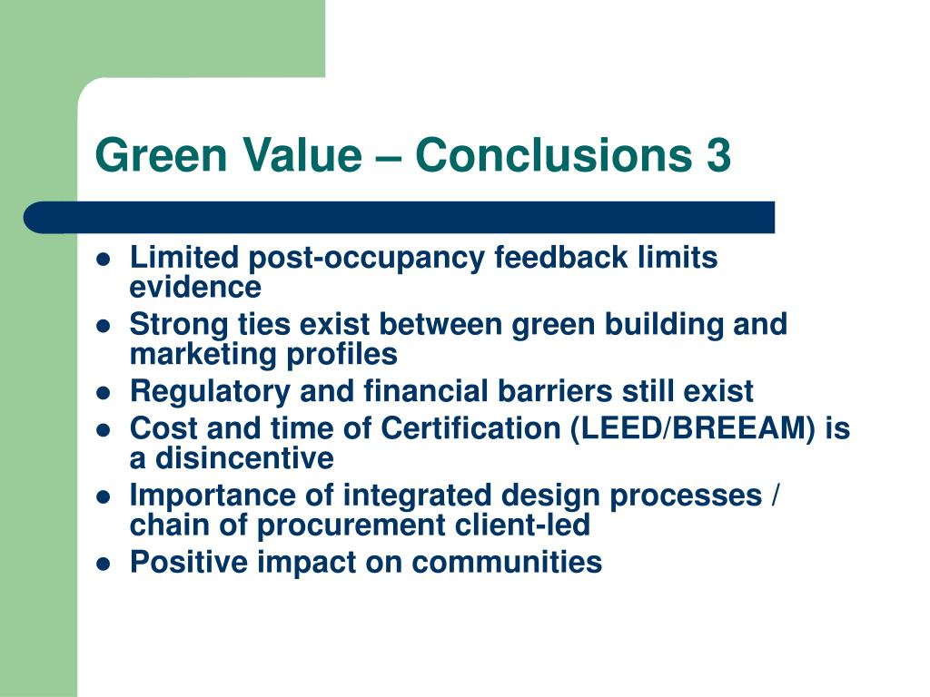 Green Value – Conclusions 3